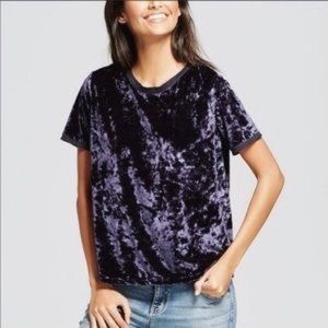 A New Day crushed velvet midnight blue trendy tee
